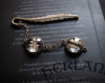 Real dried fern bookmark - bronze tone