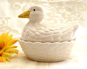 Ceramic Duck Bowl, Vintage Small Egg Bowl, Retro Kitchen, Mid Century Ceramic Duck, Vintage Kitchen, Nesting Ceramic Duck