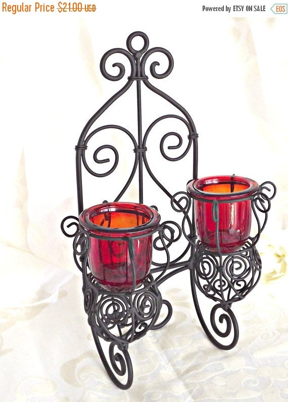 Candle Wall Sconces For Garden : ON SALE Candle Wall Sconce Garden by AgedwithGraceVintage on Etsy