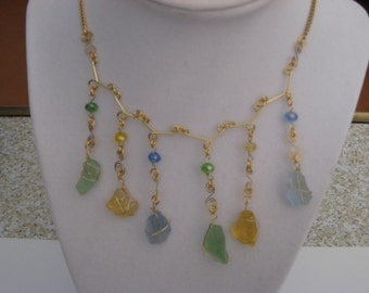 Sea Glass and Crystal Drop Necklace