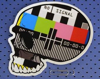 No Signal - TV Screen Skull Bumper Sticker