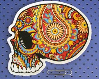 Paisley Skull Bumper Sticker