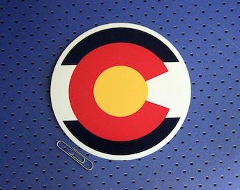 Colorado Flag Circle Bumper Sticker