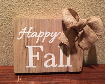 Happy Fall sign on reclaimed wood