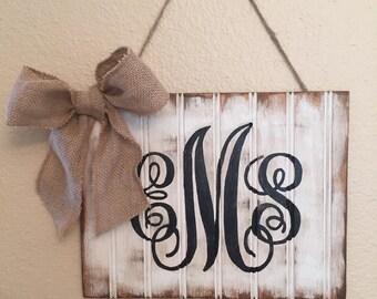 Rustic monogram sign