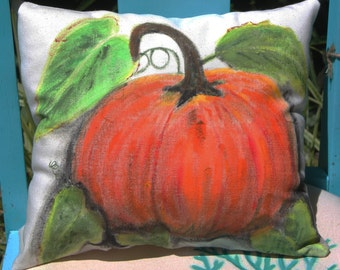 Hand painted Pumpkin Pillow or Envelope Cover, Rustic Farmhouse, Country Cottage, Fall Color, Autumn Decor, Halloween pillow or hostess gift