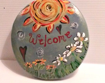 Stepping Stone , welcome stepping stone , garden stepping stone , memorial stepping stone , cement stepping stone , garden decor , gardening