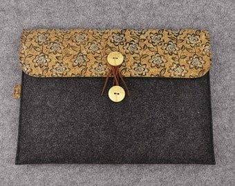 "Macbook 13 Sleeve, Macbook Pro Case, Macbook Air Case, 13"" inch Laptop Bag, Floral Felt Cork Laptop Sleeve, B2F261"