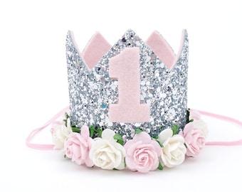 1st birthday hat, birthday party hat, birthday photo shot, silver birthday hat, baby pink birthday hat, 1st birthday crown - ORIGINAL