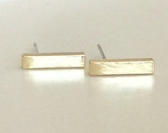Gold Bar Earrings / Tiny earrings