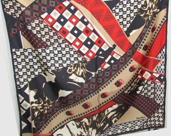 FREE SHIP Vintage Max Mara Scarf, Black Gold Red White Handbags Purse Motif, Abstract Foulard, Large Size MaxMara Fashion Accessory