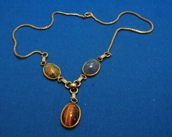 Vintage 12k 12kt Gold Filled Egyptian Revival Scarab Drop Necklace