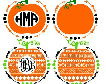 Monogram Pumpkins/Arrow Frame; SVG, Studio 3, DXF, PS, Ai and Pdf Digital Files for Electronic Cutting Machines