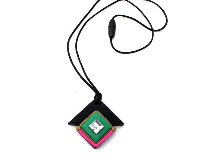 GREEN ENVY NECKLACE// Handmade diamond polymer clay art-deco necklace// Black, green and fuchsia, princess cut rhinestone pendant// #PN4045