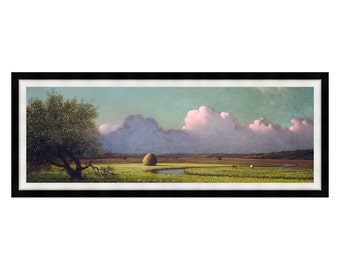 Sunlight and Shadow The Newbury Marshes Martin Johnson Heade Framed Panoramic Art Print Painting Reproduction - Size Small to Large - M00285