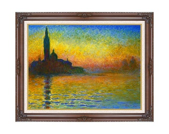 Dusk in Venice San Giorgio Maggiore Twilight Sunset Claude Monet Framed Art Print Canvas Painting Reproduction Sizes Small to Large - M00358