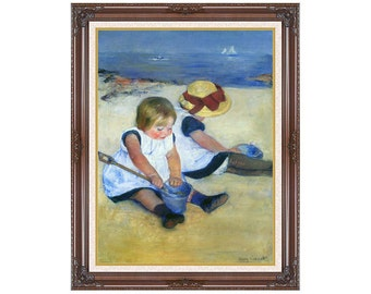 Framed Art Children Playing on the Beach Mary Cassatt Canvas Wall Artwork Print American Impressionism - Sizes Small to Large - M00438-53