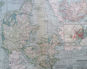 1903 DENMARK & ICELAND Original Large Antique Map - Wall Map - Home Decor - Cartography - 11 x 16 Inches - Detailed Map - Geography