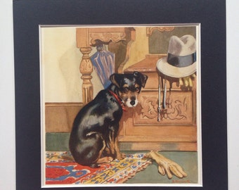 1931 Original Vintage Puppy print -  matted and ready to frame - 9 x 9 inches