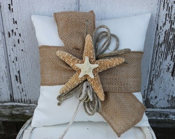 Beach Themed Ring Bearer Pillow/ Beach Themed Wedding/ Starfish Pillow