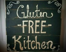 Handmade Custom Shabby Chic Country Rustic Gluten Free Kitchen Black Wood Sign Celiac Disease Birthday Christmas gift