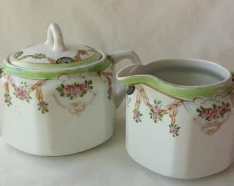 Sugar and Creamer, Vintage Bone China Sugar and Creamer Set, Hand Painted Nippon Sugar and Creamer bowls, Pink and Green Floral  Pink Roses
