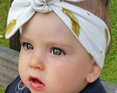 Baby Girl or Toddler Knotted Headband White w/ Gold Feathers