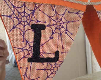 Halloween Banner.  Burlap Halloween Pendant.  Halloween decoration.
