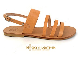 GREEK SANDALS -  Slingback Sandals Handmade from 100% Full Grain Leather