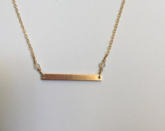 14K Gold Filled Dainty Gold Bar Necklace