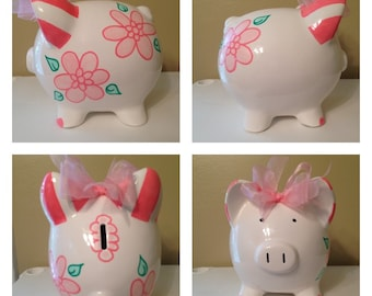Mary Pink Poppies Piggy Bank