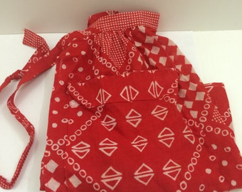 Vintage Red Apron with White Pattern