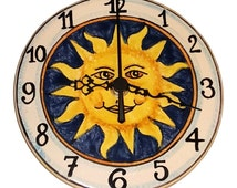 Italian Ceramic Wall Clock Decorated Sun Hand Painted Made in ITALY Tuscan Art Pottery
