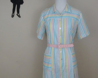 Vintage 1960's House Dress / 60s Pastel Stripe Dress XL/XXL