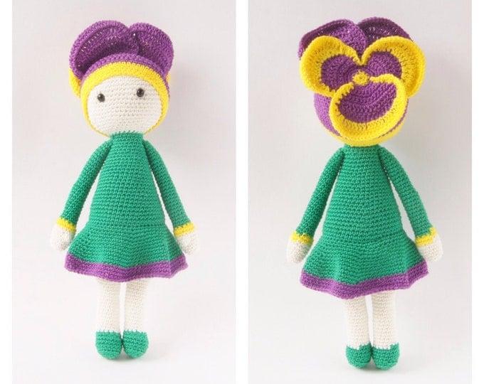 Crochet Toy Doll Viola Flower Fairytale Amigurumi Lalylala Doll Zabbez Gifts for Kids Nursery Decor Custom Color Handmade
