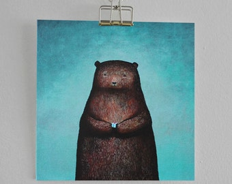 Bear card - 'Bear with Present' - Hand drawn card