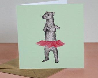 Ferret - 'Tutu' Hand made card