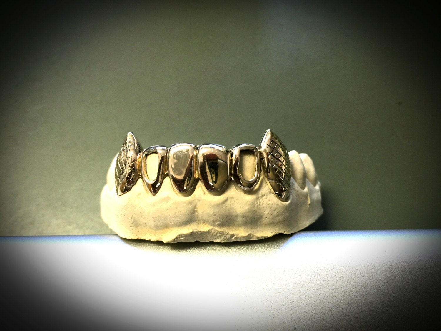 10k gold teeth : 6 bottom with extended fangs and by ...