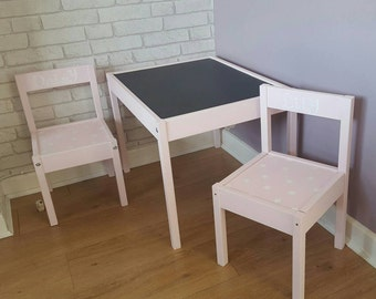 Personalised chalkboard table and chairs
