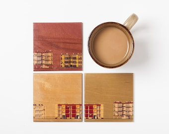 Street Coasters, 4 printed plywood coasters set, Handmade, Square coasters set, Upcycled wood coasters, Architectural style, Buildings