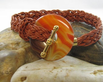 Kumihimo leather woven bracelet