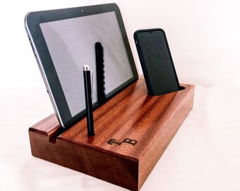 Personalized Docking Station, Exotic Wood, Personalized Gift, Universal Sizes, Tech Organizer, iPad Dock, Android Dock, Fathers Day Gift