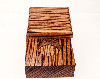 Zebrawood Ring Box - Personalized - Gift for Her - Wedding Ring Box - Ring Bearer box - Handcrafted Ring Box