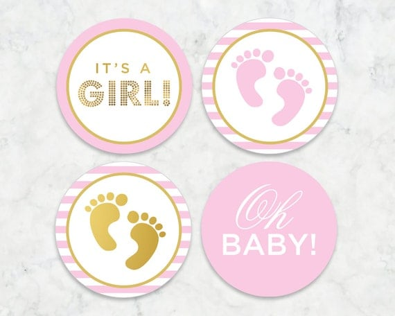 Its a Girl Printable Tags Labels Cupcake Toppers
