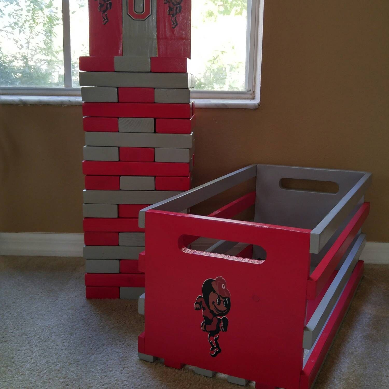 giant life size jenga college football edition by notableworks. Black Bedroom Furniture Sets. Home Design Ideas