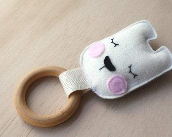 Sleepy Bear Wooden Teething Toy, Wooden Teether, Soft Baby Toy, Teething Ring, Teether Toy,