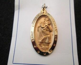 Gorgeous St. Christopher medal, 12kt. gf, Large Oval, Great detailing