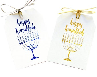Jewish holiday 2017 - Hanukkah gift tags - Hanukkah decoration - Foil Tags - Star of David Hanukkah - Menorah - Blue Hanukkah - Holiday