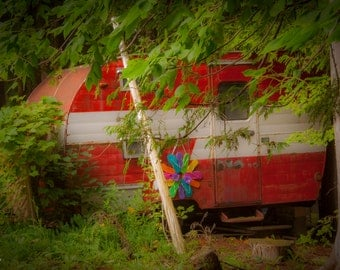 Vintage camper, cabin decor, shabby chic, red, green