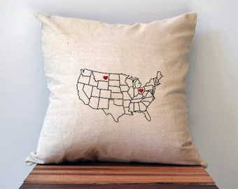 Heart Map Pillow Personalized Wedding Gift Map Heart Wedding - Us map pillow personalized